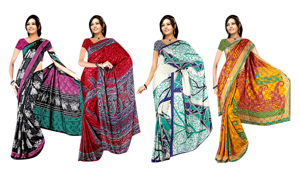 Set of 4 Mulberry Jaquard Sarees at Rs.1999