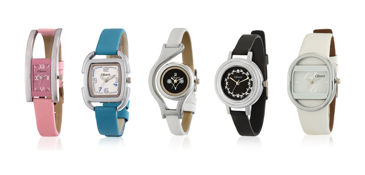 Set of 5 Oleva combo of leather watches at Rs.914