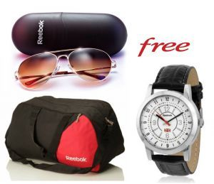 Reebok gym duffle bag & Reebok sunglasses at Rs.399