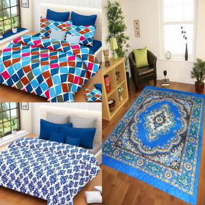 Combo of double bedsheet, dohar & quilted carpet at Rs.899